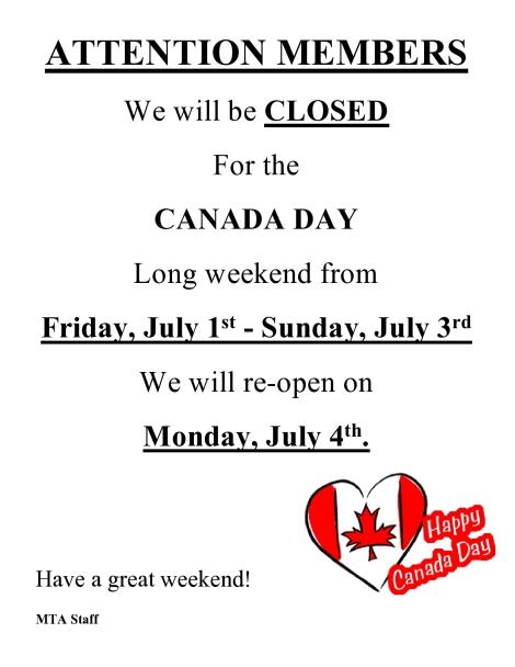 Canada Day closure 2016