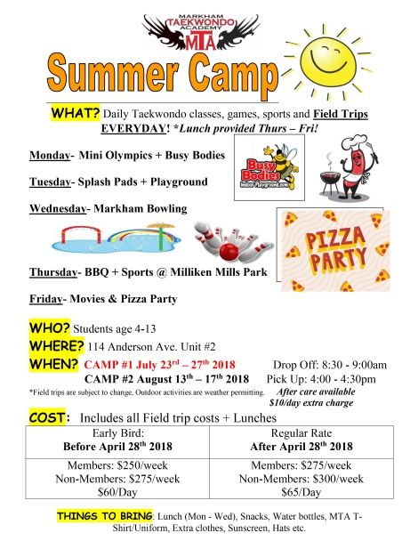 Summer Camp Poster 2018_Markham Location